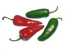 Peperoni caldi rossi e verdi Immagine Stock
