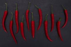 Peperoni caldi sul fondo nero dell'ardesia Fotografie Stock Libere da Diritti