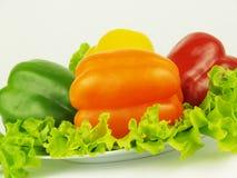 Peperoni colorati con insalata verde Fotografia Stock