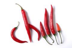 Peperoni di peperoncini rossi Immagine Stock