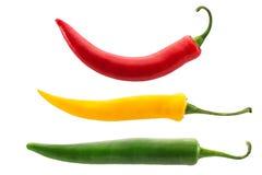 Peperoni di peperoncini rossi caldi isolati su bianco Immagine Stock Libera da Diritti