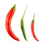 Peperoni di peperoncini rossi rossi e verdi Immagine Stock
