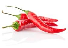 Peperoni di peperoncini rossi rossi isolati su bianco Fotografia Stock Libera da Diritti