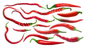 Peperoni di peperoncino rosso di Caienna, percorsi immagine stock