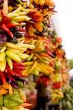 Peperoni di peperoncino rosso caldo ad un servizio Fotografia Stock Libera da Diritti