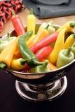 Peperoni di peperoncino rosso caldo gastronomici Immagini Stock Libere da Diritti