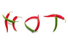 Peperoni di peperoncino rosso caldo sopra bianco Immagine Stock Libera da Diritti