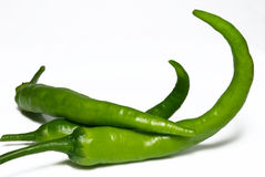 Peperoni di peperoncino rosso caldo verdi Fotografie Stock Libere da Diritti