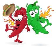 Peperoni di peperoncino rosso di salto roventi Immagini Stock Libere da Diritti
