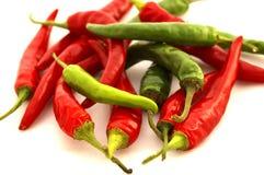 Peperoni di peperoncino rosso rossi & verdi Fotografie Stock