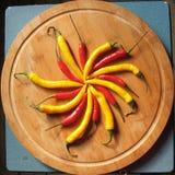 Peperoni di peperoncino rosso rossi e gialli. Immagine Stock Libera da Diritti
