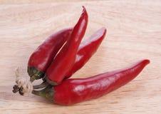 Peperoni di peperoncino rosso rosso Fotografie Stock Libere da Diritti