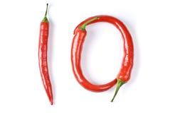 Peperoni di peperoncino rosso rosso caldi isolati su bianco Immagini Stock Libere da Diritti