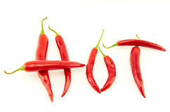 Peperoni di peperoncino rosso roventi Immagini Stock Libere da Diritti