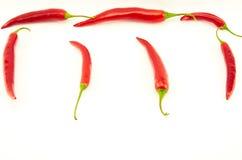 Peperoni di peperoncino rosso roventi Fotografia Stock