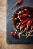 Peperoni di peperoncino rosso secchi Fotografia Stock Libera da Diritti