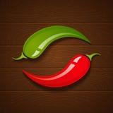 Peperoni di peperoncino rosso su priorità bassa di legno Fotografia Stock