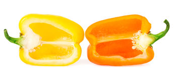 Peperoni dolci con la metà isolati su bianco Fotografie Stock