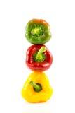 Peperoni dolci dolci rossi, verdi e gialli Immagini Stock Libere da Diritti