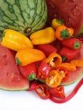 Peperoni dolci e melone Fotografia Stock Libera da Diritti