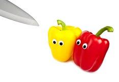 Peperoni dolci nervosi circa da tagliare Fotografie Stock