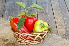 Peperoni dolci rossi e gialli maturi in un canestro di vimini sul pezzo di Immagine Stock