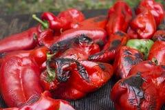 Peperoni dolci rossi grilied Immagine Stock Libera da Diritti