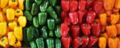 Peperoni dolci rossi, verdi, arancio e gialli su un contatore nel supermercato Fotografia Stock