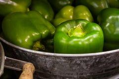 Peperoni dolci verdi nell'agricoltore locale d'annata rustico m. del secchio del metallo Fotografia Stock Libera da Diritti
