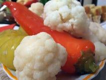 Peperoni e cavolfiore marinati Fotografia Stock
