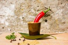 Peperoni e spezie di peperoncino rosso roventi Immagini Stock
