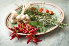 Peperoni ed altre spezie mediterranee Fotografia Stock
