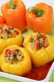 Peperoni gialli riempiti con carne tritata Fotografia Stock Libera da Diritti