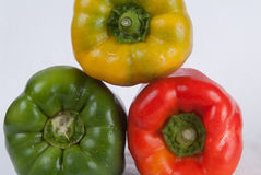 Peperoni gialli, rossi e verdi Fotografia Stock