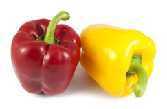 Peperoni rossi e gialli Immagini Stock Libere da Diritti