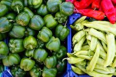 Peperoni rossi e verdi Immagini Stock Libere da Diritti
