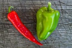 Peperoni rossi e verdi Fotografia Stock