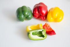 Peperoni rossi, verdi e gialli di California Fotografia Stock