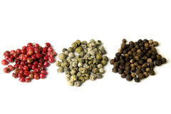 Peperoni rossi, verdi e neri fotografia stock libera da diritti
