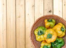 Peperoni su un fondo di legno Fotografia Stock Libera da Diritti