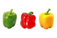 Peperoni verdi e gialli rossi freschi Immagini Stock Libere da Diritti