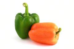 Peperoni verdi ed arancioni Fotografia Stock Libera da Diritti