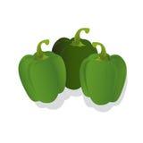 Peperoni verdi freschi, illustrazione di vettore, isolata su fondo bianco Fotografia Stock