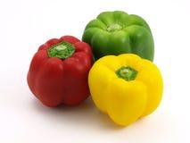 Peperoni verdi gialli rossi Immagine Stock