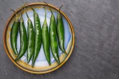 Peperoni verdi lunghi Fotografie Stock Libere da Diritti
