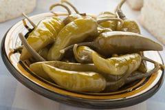 Peperoni verdi marinati Fotografie Stock Libere da Diritti