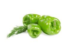 Peperoni verdi su bianco Fotografia Stock Libera da Diritti