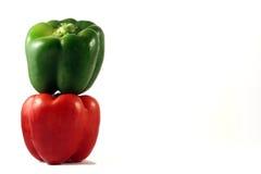 Pepers verdes y rojos Imagen de archivo libre de regalías