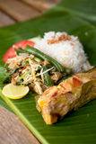 Pepes Ikan. Special indonesian fish dish, Pepes Ikan, served on banana leaf Stock Images