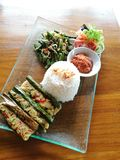 Pepes ikan, Balinese grilled fish. A photo showing the traditional ethnic Indonesian bali cuisine dish of Pepes ikan, grilled pieces of fish meat, mixed with Stock Image